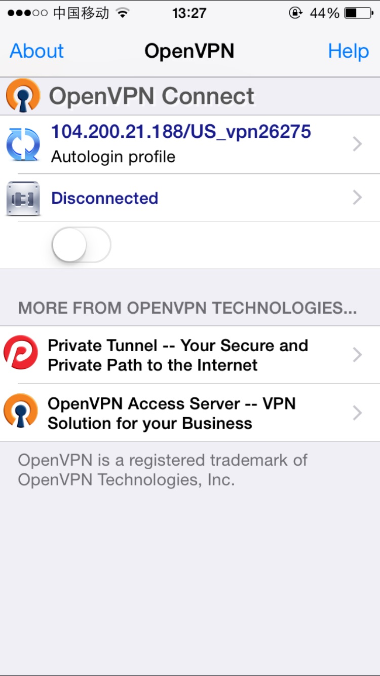 OpenVPN profile added