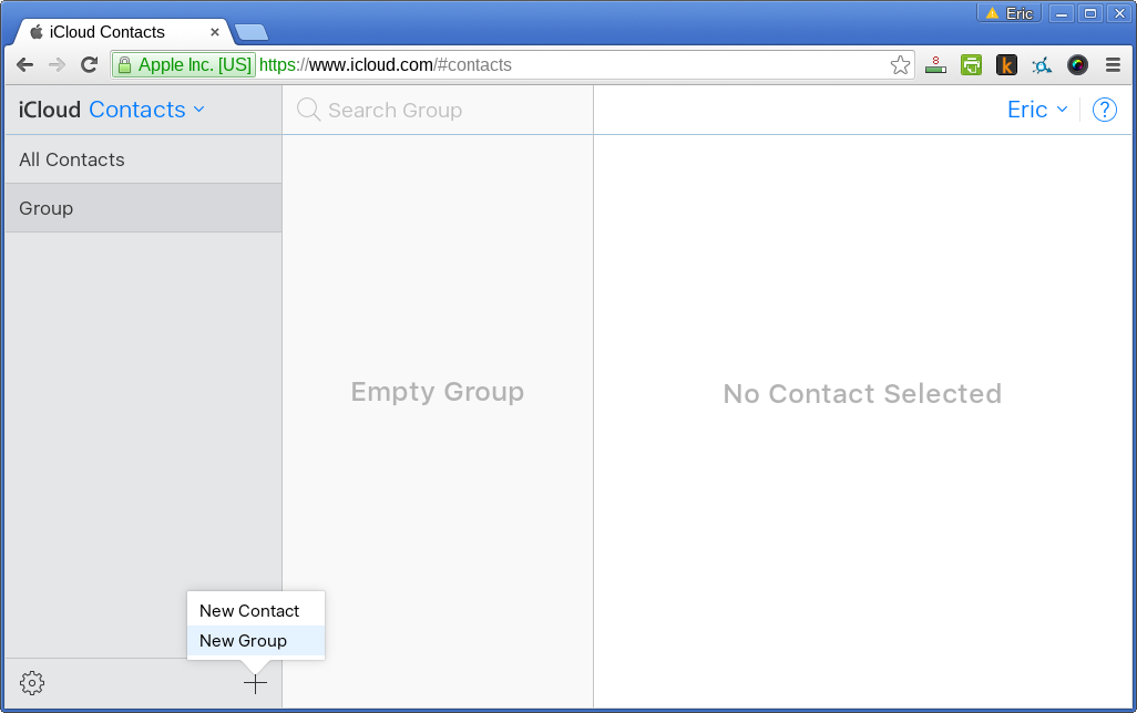 create a new group in iCloud contact