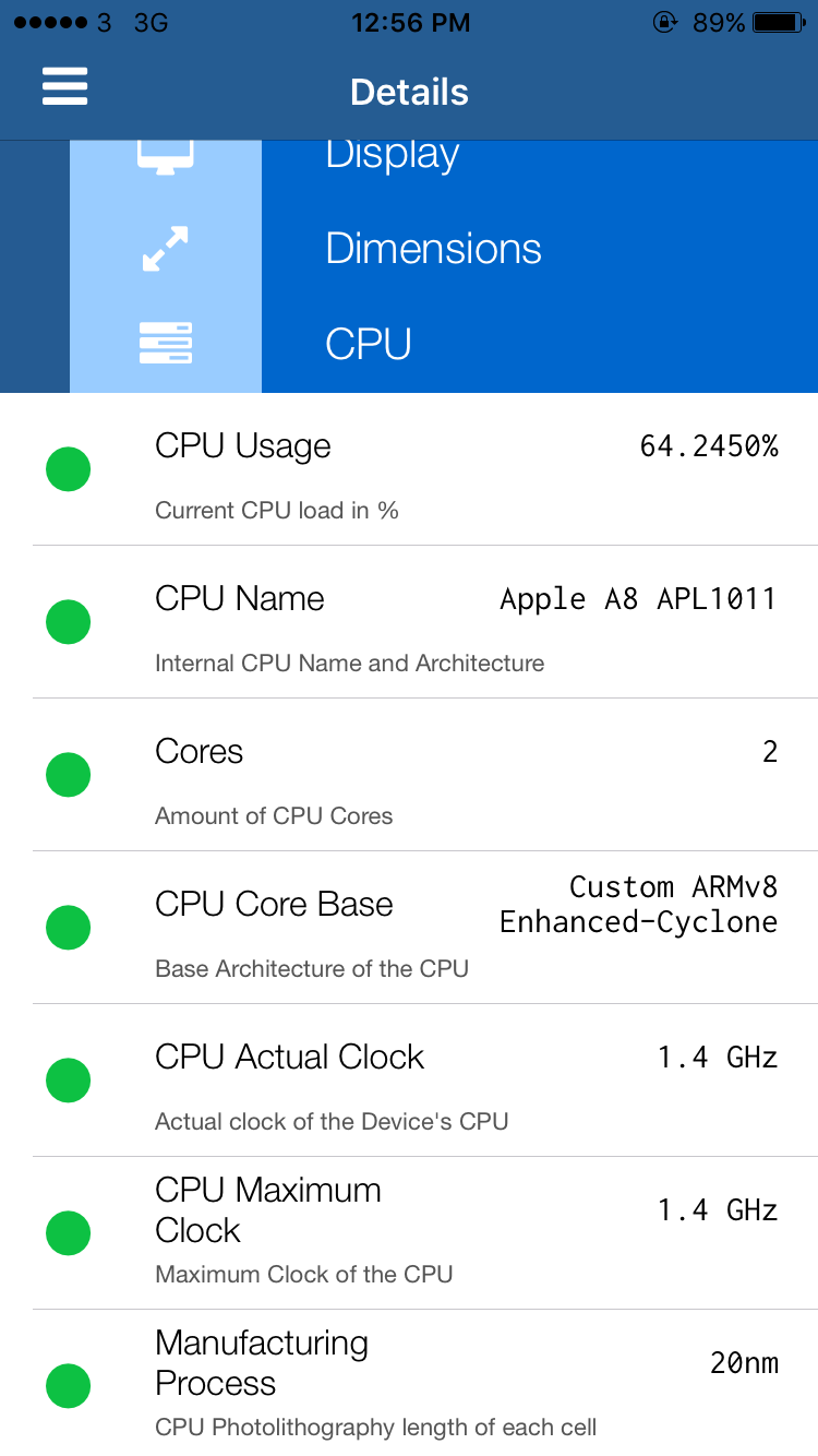 CPU frequency iphone