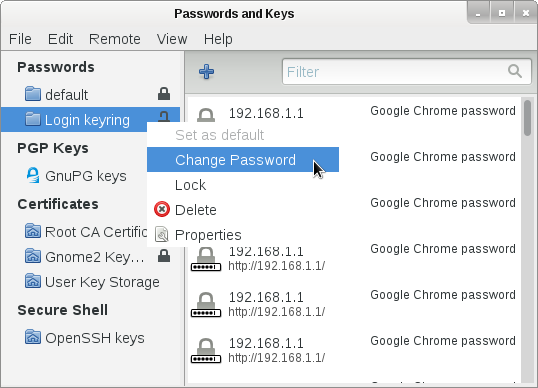 Change Passwords and keys