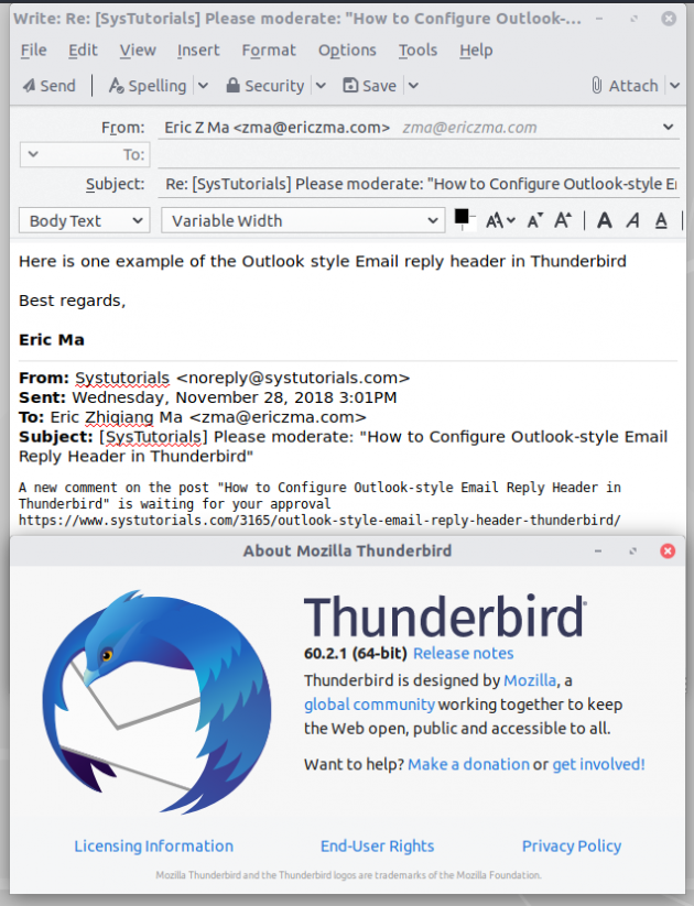 How to Configure Outlook-style Email Reply Header in