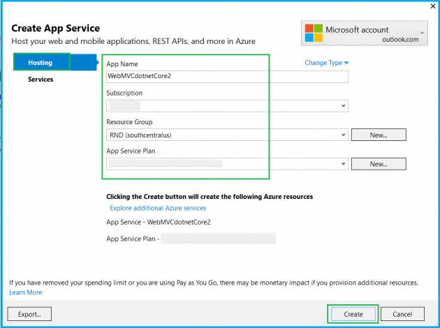 Deploying ASP NET Core 2 0 MVC application to Azure Web apps using
