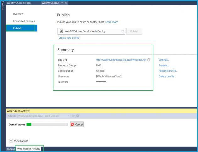 Deploying ASP NET Core 2 0 MVC application to Azure Web apps