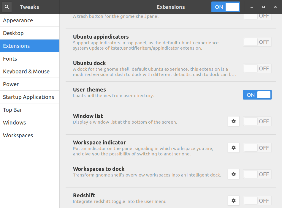 Enable User Themes plugin in Gnome